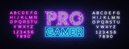 Pro Gamer neon sign vector. Neon Gaming Design template, light banner, night signboard, nightly bright advertising, light inscription. Vector illustration. Editing text neon sign.  イラスト・ベクター素材