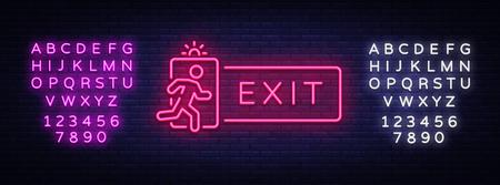 Exit Neon Signboard Vector. Exit neon sign, design template, modern trend design, night neon signboard, night bright advertising, light banner, light art. Vector. Editing text neon sign. Foto de archivo - 123969769