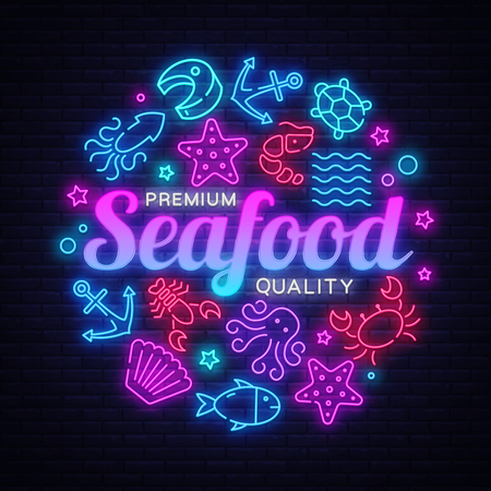 Seafood neon banner. Vector restaurant menu. Seafood Restaurant neon signboard. Marine food banner, flyer design, design template. Delicious cuisine objects. Use for promotion, market, store banner