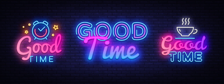 Good Time collection neon signs vector. Good Times design template concept. Neon banner background design, night symbol, modern trend design. Vectro Illustration.