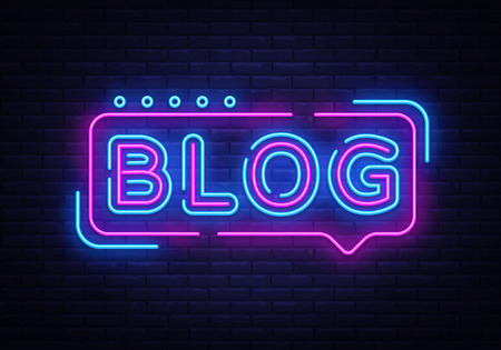 Blogowanie szablonu projektu wektor tekst neon. Blog neonowe logo, lekki element projektu banera kolorowy trend w nowoczesnym designie, noc jasna reklama, jasny znak. Ilustracja wektorowa.