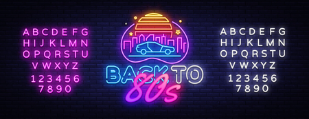 Back to the 80s neon sign vector. 80 s Retro style Design template neon sign, light banner, neon signboard, nightly bright advertising, light inscription. Vector. Editing text neon sign