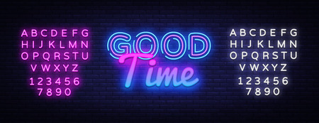 Good Time neon sign vector. Good Time Design template neon sign, light banner, neon signboard, nightly bright advertising, light inscription. Vector illustration. Editing text neon sign. Illustration