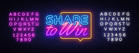 Share to Win neon text vector design template. Share to Win neon sign, light banner design element colorful modern design trend, night bright advertising, bright sign. Vector. Editing text neon sign. Illustration