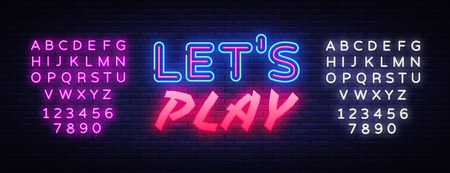 Lets Play neon text vector design template. Gaming neon logo, light banner design element colorful modern design trend, night bright advertising, bright sign. Vector. Editing text neon sign Illustration