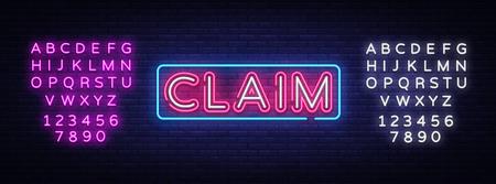 Claim neon sign vector design template. Claim neon text, light banner design element colorful modern design trend, night bright advertising, bright sign. Vector illustration. Editing text neon sign Illustration