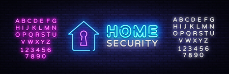 Home Security neon sign vector design template. Smart Home Security neon logo, light banner design element colorful modern design trend, night bright advertising. Vector. Editing text neon sign.