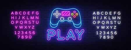 Gaming-Leuchtreklame-Vektor. Spielen Sie Designvorlage Neonschild, Lichtbanner, Neonschild, nächtliche helle Werbung, Lichtinschrift. Vektor-Illustration. Bearbeiten von Textleuchtreklamen. Vektorgrafik