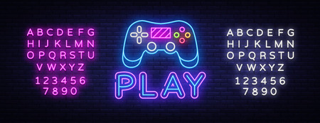 Gaming neon sign vector. Play Design template neon sign, light banner, neon signboard, nightly bright advertising, light inscription. Vector illustration. Editing text neon sign.