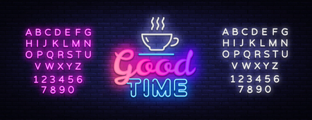 Good Time Neon Text Vector. Good Times neon sign, design template, modern trend design, night signboard, night bright advertising, light banner, light art. Vector. Editing text neon sign. Çizim