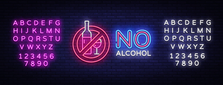 No Alcohol neon sign vector. Ban Alcohol Design template neon sign, light banner, neon signboard, nightly bright advertising, light inscription. Vector illustration. Editing text neon sign.