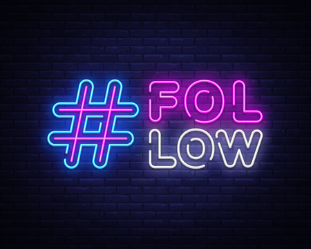 Follow Me neon sign vector. Social networks Design template neon sign, light banner, neon signboard, nightly bright advertising, light inscription. Vector illustration 스톡 콘텐츠 - 120670529