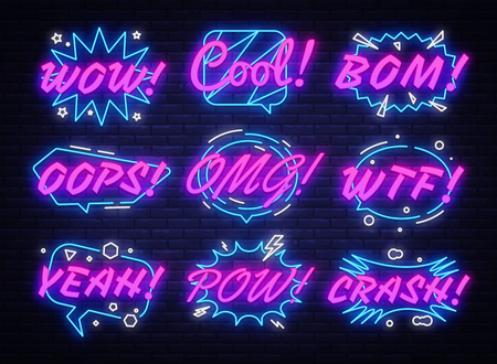 Comic Bubbles Set in neon style. Expressions Cool, Oops, Wow, Omg, Crash, Yeah and other. Collection neon signs Pop Art. Speech bubble, poster and sticker concept. Vector illustration