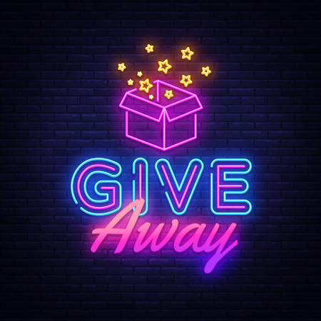 Give Away neon sign vector design template. Blogging neon logo, light banner design element colorful modern design trend, night bright advertising, bright sign. Vector illustration.