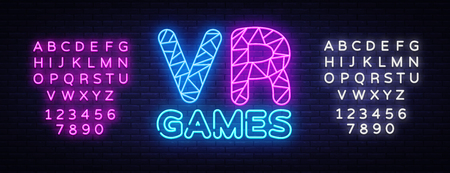 VR Gamer neon text vector design template. Gaming neon logo, light banner design element colorful modern design trend, night bright advertising, bright sign. Vector. Editing text neon sign.