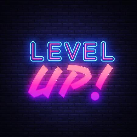 Livello UP vettore segno al neon. Insegna al neon del modello di design del gioco, banner luminoso, insegna al neon, pubblicità luminosa notturna, iscrizione luminosa. Illustrazione vettoriale