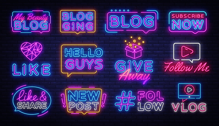Blogging collection neon signs vector. Social networks design template concept. Blog Neon banner background design, night symbol, modern trend design. Vectro Illustration