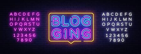 Blog Neon Text Vector. Blogging neon sign, design template, modern trend design, night signboard, night bright advertising, light banner, light art. Vector illustration. Editing text neon sign. Illustration
