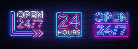 24 hours Neon signboards set Vector. Open all day neon signs, design template, modern trend design, night bright advertising, light banner, light art. Vector illustration. Vetores