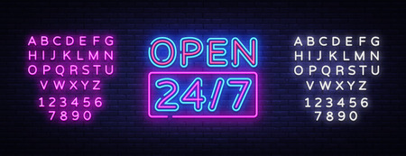 24 7 Neon Sinboard Vector. Open all day neon sign, design template, modern trend design, night signboard, night bright advertising, light banner, light art. Vector. Editing text neon sign. Illustration