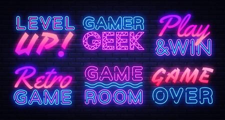Gaming Neon signs set Vector. Gamer neon sign, design template, modern trend design, night signboard, night bright advertising, light banner, light art. Vector illustration Vektoros illusztráció