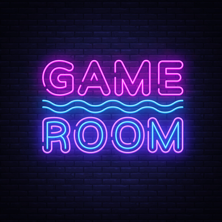Game Room Neon Text Vector. Gaming neon sign, design template, modern trend design, night signboard, night bright advertising, light banner, light art. Vector illustration