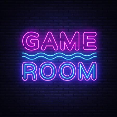 Vecteur de texte néon de salle de jeux. Enseigne au néon de jeu, modèle de conception, design tendance moderne, enseigne de nuit, publicité lumineuse de nuit, bannière lumineuse, art lumineux. Illustration vectorielle