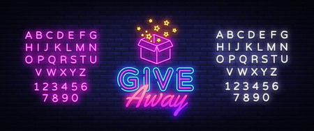 Give Away neon sign vector design template. Blogging neon logo, light banner design element colorful modern design trend, night bright advertising, bright sign. Vector. Editing text neon sign.