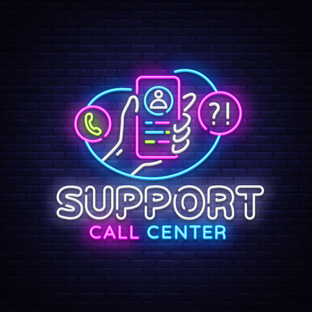 Support neon sign vector. Call Center Design template neon sign, light banner, neon signboard, nightly bright advertising, light inscription. Vector illustration. Çizim