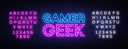 Gamer Geek Neon Text Vector. Gaming neon sign, design template, modern trend design, night signboard, night bright advertising, light banner, light art. Vector. Editing text neon sign Ilustrace