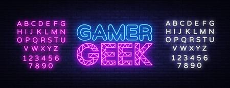 Gamer Geek Neon Text Vector. Gaming neon sign, design template, modern trend design, night signboard, night bright advertising, light banner, light art. Vector. Editing text neon sign Stock Illustratie