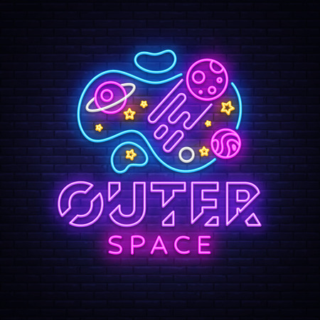 Outer Space neon sign vector. Space Design template neon sign, light banner, neon signboard, nightly bright advertising, light inscription. Vector illustration