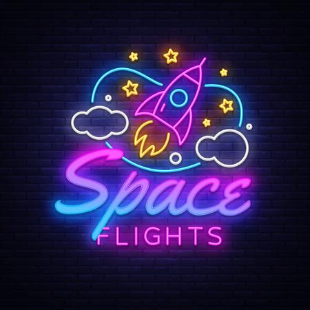Space Flights Neon Text Vector. Space neon sign, design template, modern trend design, night signboard, night bright advertising, light banner, light art. Vector illustration.