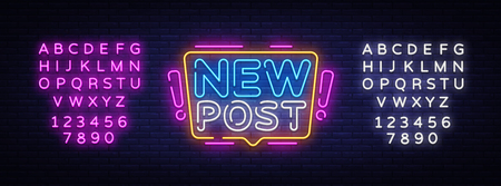 New Post Neon Text Vector. Blogging neon sign, design template, modern trend design, night signboard, night bright advertising, light banner, light art. Vector. Editing text neon sign 일러스트