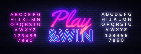 Play Win neon text vector design template. Gaming neon logo, light banner design element colorful modern design trend, night bright advertising, bright sign. Vector. Editing text neon sign.
