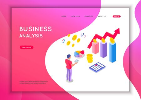 Business analysis concept. Graphic and audit documentation, economic analysis financial budget. Flat isometric vector illustration isolated on white background