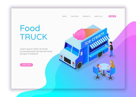 Modern flat design isometric concept of Ice Cream Shop for website and mobile website. Street food truck isometric. Landing page template. Flat isometric characters vector illustration Illusztráció