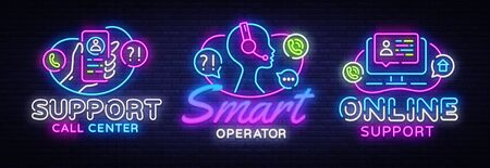 Call Center collection neon signs vector. Support design template concept. Neon banner background design, night symbol, modern trend design. Vectro Illustration.