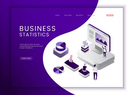 Business analysis concept. Graphic and audit documentation, economic analysis financial budget. Flat isometric vector illustration isolated on white background.