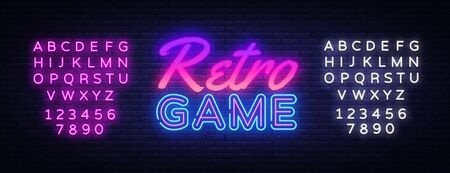 Retro Games neon sign vector. Gaming Design template neon sign, light banner, neon signboard, nightly bright advertising, light inscription. Vector illustration. Editing text neon sign