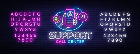 Support neon sign vector. Call Center Design template neon sign, light banner, neon signboard, nightly bright advertising, light inscription. Vector illustration. Editing text neon sign.