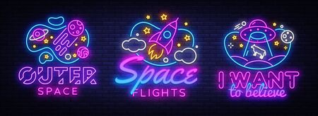 Space collection neon signs vector. Cosmic Theme design template concept. Neon banner background design, night symbol, modern trend design. Vectro Illustration Illusztráció