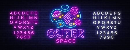 Outer Space neon sign vector. Space Design template neon sign, light banner, neon signboard, nightly bright advertising, light inscription. Vector illustration. Editing text neon sign
