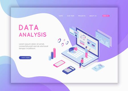 Modern flat design isometric concept of Data Analysis for website and mobile website. Data analysis, and office situations. Landing page template. Flat isometric characters vector illustration Illusztráció