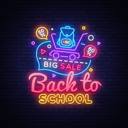 Back to School concept banner in fashionable neon style, luminous signboard, nightly advertising of sales rebates of School. Vector illustration for your projects.