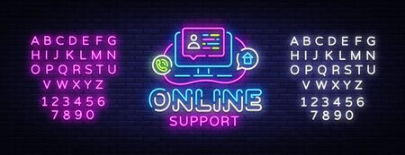 Online Support neon sign vector design template. Call Center neon logo, light banner design element colorful modern design trend, night bright advertising, bright sign. Vector. Editing text neon sign. Çizim