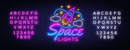 Space Flights Neon Text Vector. Space neon sign, design template, modern trend design, night signboard, night bright advertising, light banner, light art. Vector illustration. Editing text neon sign.