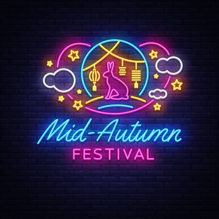 Happy Mid Autumn Festival neon sign vector. Mid Autumn Design template web, banner, poster, greeting card, party invitation, light banner. Isolated Vector illustration. Çizim
