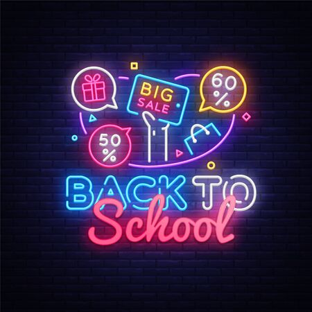 Back to School Vector, discount sale concept illustration in neon style, online shopping and marketing concept. Neon luminous signboard, bright banner, light advertisement.