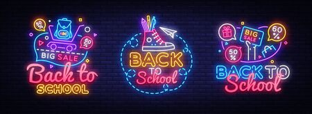 Big collectin neon signs for Back to School. Neon Banner Vector. Back to school design template, modern trend design, night light signboard, night bright advertising. Vector illustration. Çizim